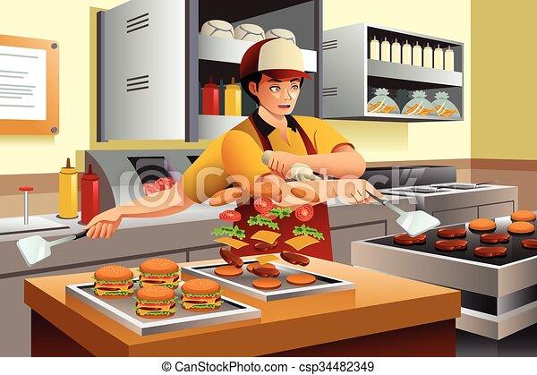 Man Cooking Burgers  - csp34482349