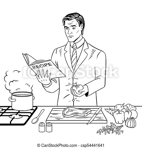 Man cooking food coloring book vector. Businessman cooking food ...