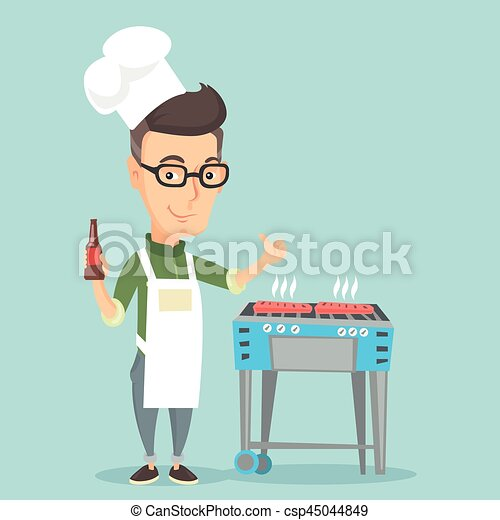 Man cooking steak on barbecue grill. - csp45044849
