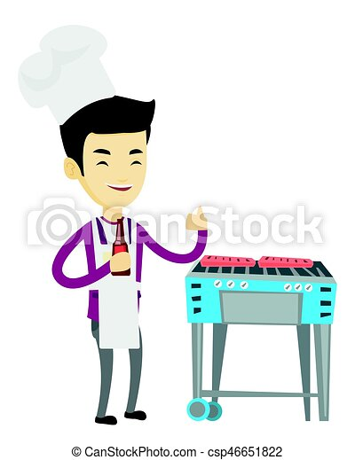 Man cooking steak on barbecue grill. - csp46651822