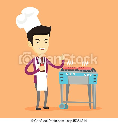 Man cooking steak on barbecue grill. - csp45364314