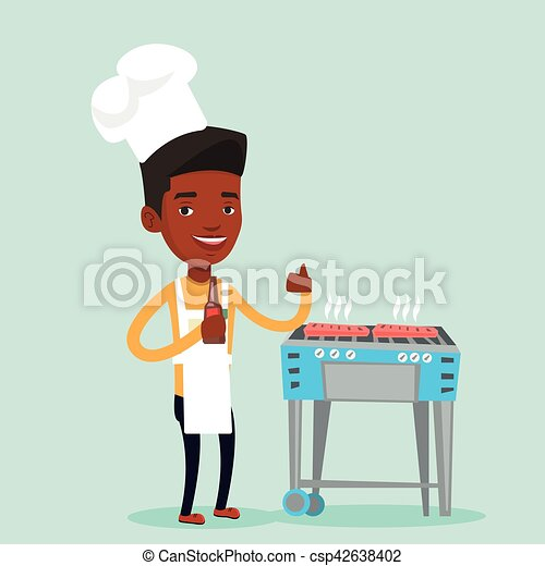 Man cooking steak on barbecue grill. - csp42638402