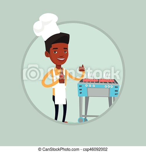 Man cooking steak on gas barbecue grill. - csp46092002