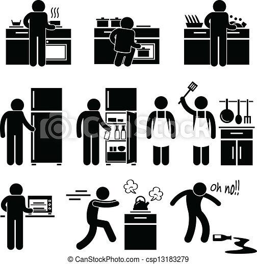 Man Cooking Washing at Kitchen - csp13183279