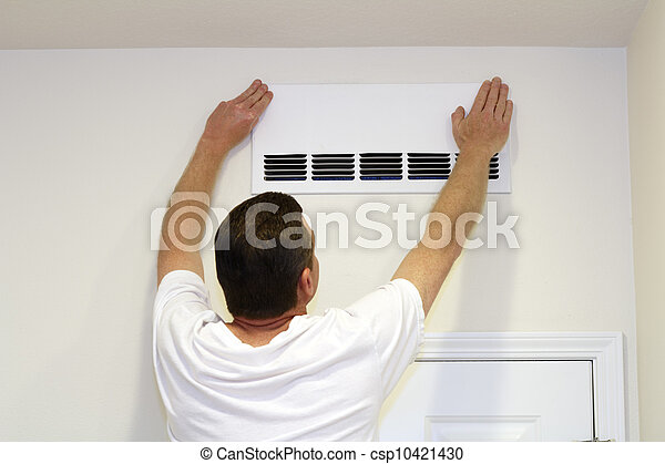 Man Covering Air Vent - csp10421430