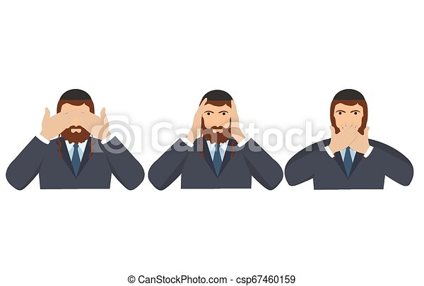 Man covering eyes, ears and mouth with hands as looking like the three wise monkeys. Don't see, don't hear and don't speak concept illustration in vector cartoon style. - csp67460159