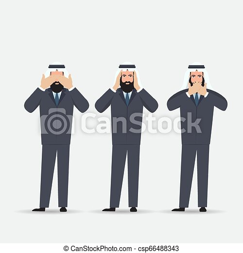 Man covering eyes, ears and mouth with hands as looking like the three wise monkeys. Don't see, don't hear and don't speak concept illustration in vector cartoon style. - csp66488343