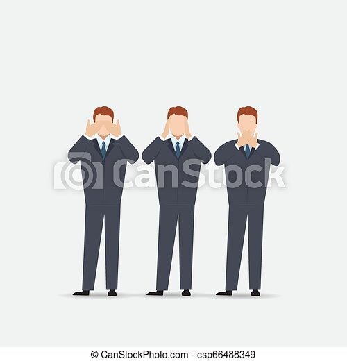 Man covering eyes, ears and mouth with hands as looking like the three wise monkeys. Don't see, don't hear and don't speak concept illustration in vector cartoon style. - csp66488349