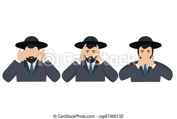 Man covering eyes, ears and mouth with hands as looking like the three wise monkeys. Don't see, don't hear and don't speak concept illustration in vector cartoon style. - csp67460132