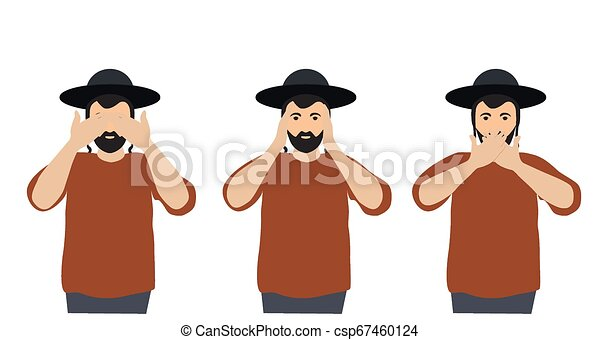 Man covering eyes, ears and mouth with hands as looking like the three wise monkeys. Don't see, don't hear and don't speak concept illustration in vector cartoon style. - csp67460124