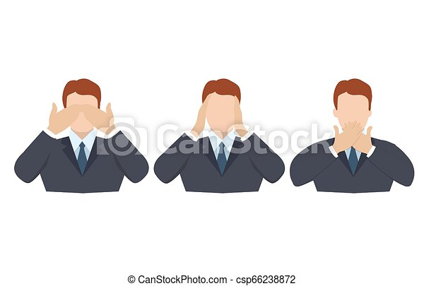 Man covering eyes, ears and mouth with hands as looking like the three wise monkeys. Don't see, don't hear and don't speak concept illustration in vector cartoon style. - csp66238872