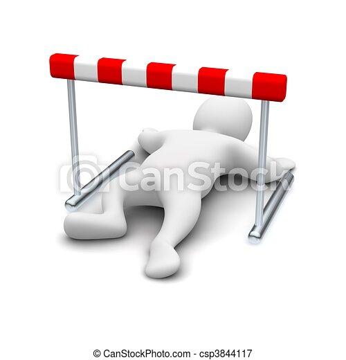 Man creeping under hurdle. 3d rendered illustration. - csp3844117