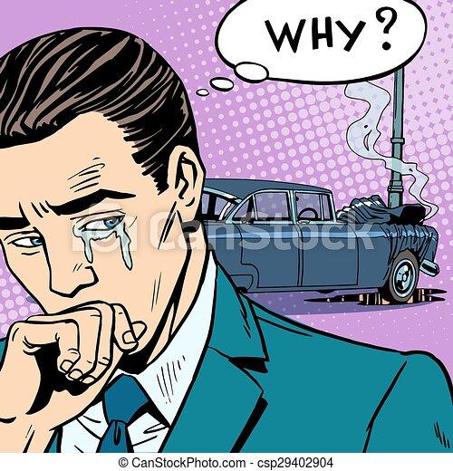 man cries car accident csp29402904