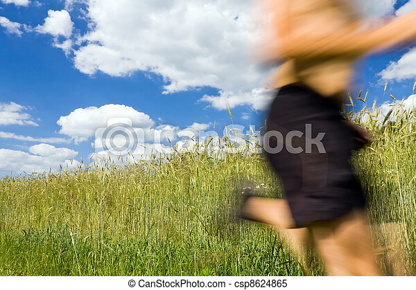 Man cross country running on trail - csp8624865