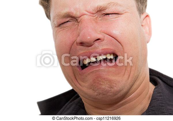 man crying on a white background - csp11216926