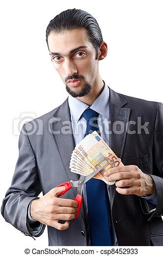 Man cutting money on white - csp8452933
