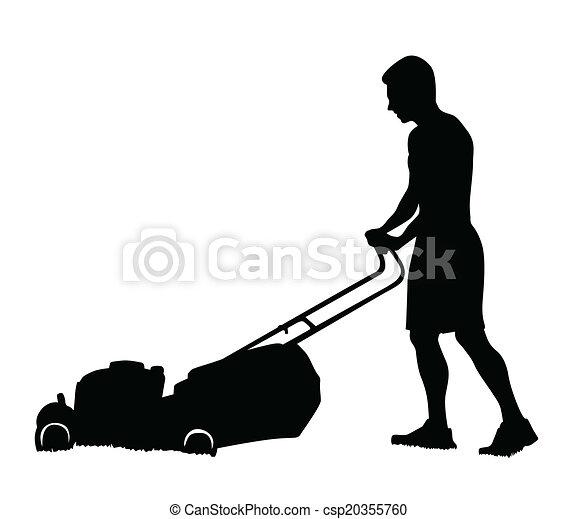 man cutting the grass with lawn mower vector silhouette rh canstockphoto com lawn mower cutting grass clip art Grass-Cutting Logos