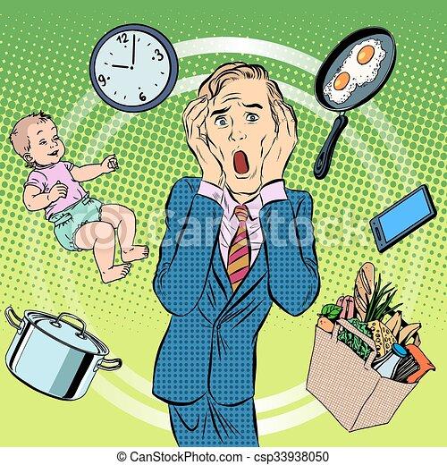 Man dad household chores - csp33938050