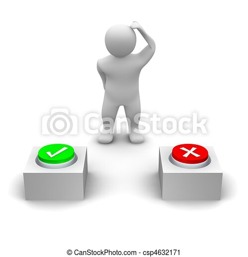 Man deciding which button to press. 3d rendered illustration. - csp4632171