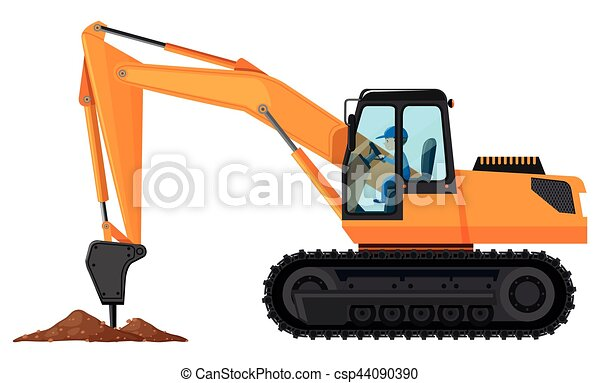 Man digging the ground with core drill - csp44090390
