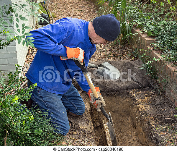 Man Digging Trench to Replace Sewer Line Pipes and Lawn Sprinkler System - csp28846190