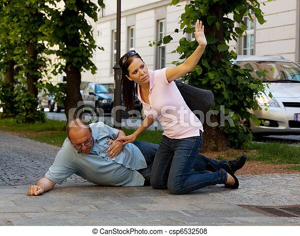 Man dizziness or heart attack - csp6532508