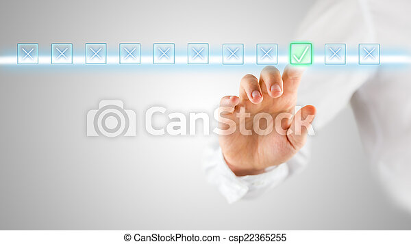 Man doing an evaluation or assessment online - csp22365255