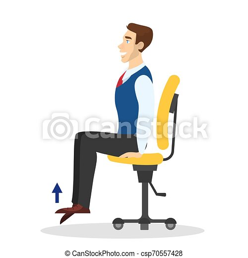 Man Doing Exercise For Back Stretch In Office Sitting On Chair Workout During The Break Stretching Neck And Shoulder Body Canstock