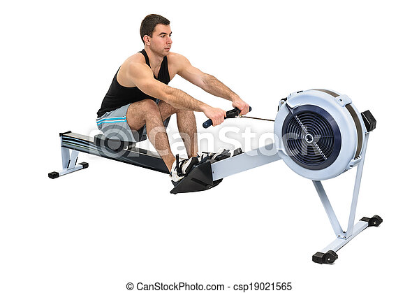 man doing indoor rowing - csp19021565