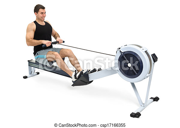 man doing indoor rowing - csp17166355