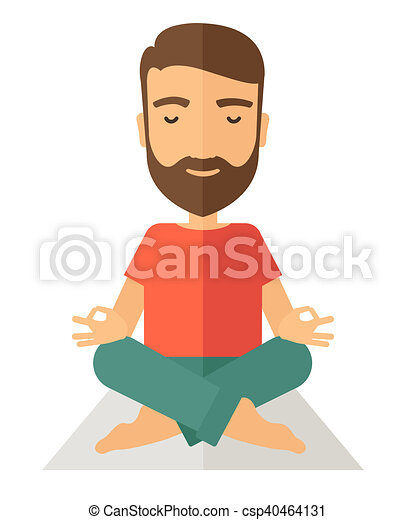 Man Doing Yoga A Hipster Man Doing Yoga A Contemporary Style Flat
