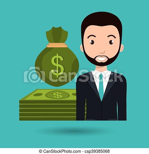 man dollar money icon vector illustration graphic
