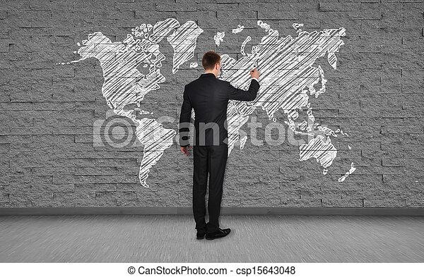 Man drawing map businessman drawing world map on brick wall stock man drawing map csp15643048 gumiabroncs Images