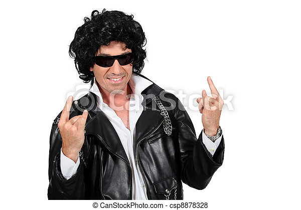 Man dressed as a rockstar - csp8878328