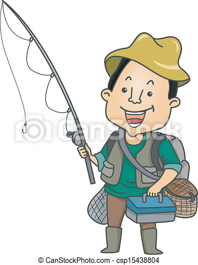 man dressed in fishing gear illustration of a man holding a rh canstockphoto com man fishing clipart old man fishing clipart