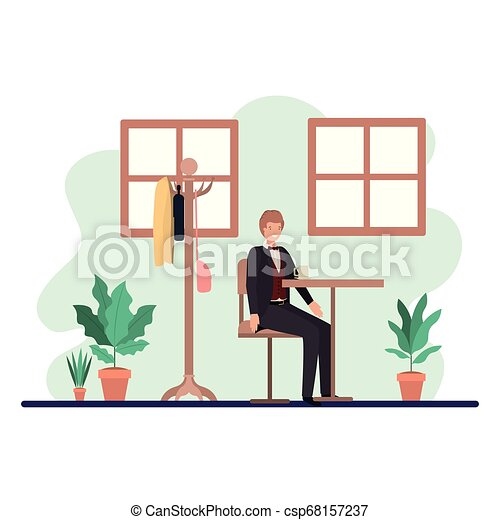Man Drinking Coffee In The Dining Room Vector Illustration Desing