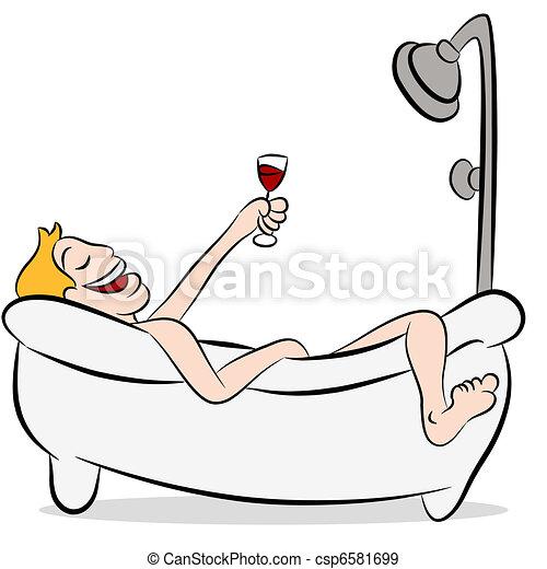 Man Drinking Wine In The Bathtub - csp6581699