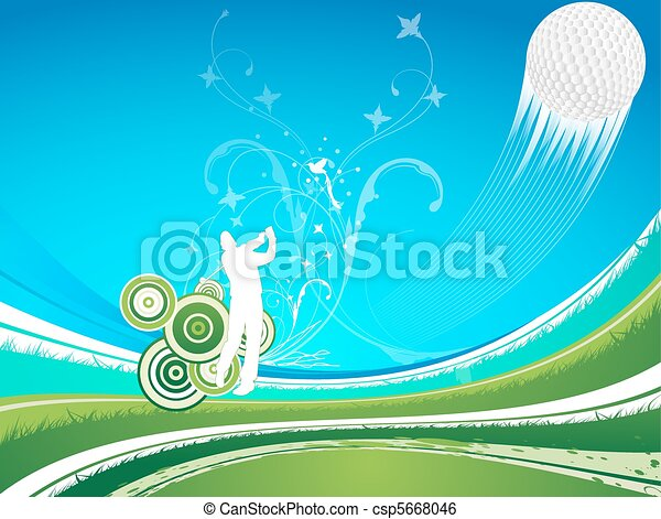 Man driving a golf ball  on a blue a green background - csp5668046