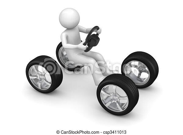 Man driving imaginary car - csp3411013