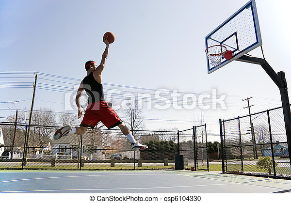 Man Dunking the Basketball - csp6104330