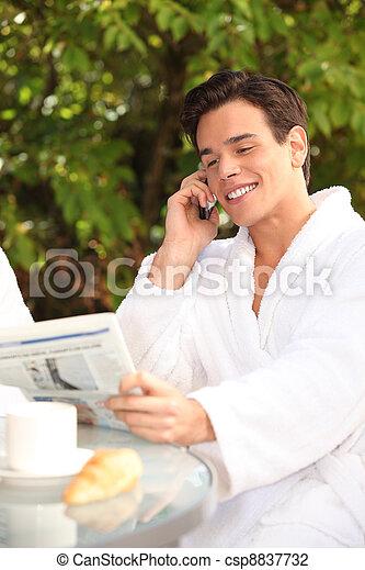 Man enjoying a relaxing weekend at the spa - csp8837732