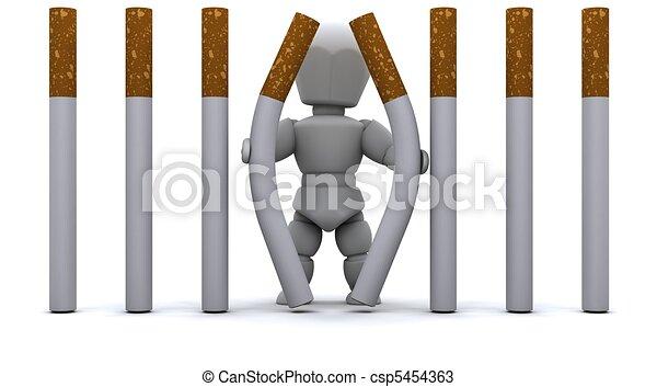 Man escaping Cigarette Prison - csp5454363