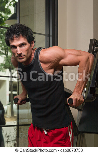 Man Exercising Arm Muscles 2 - csp0670750