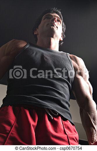 Man Exercising Arm Muscles 6 - csp0670754