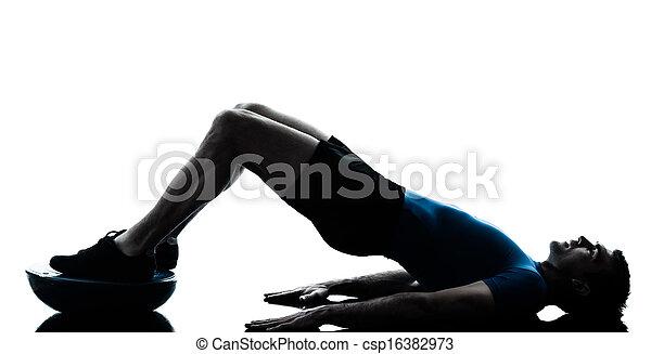 man exercising bosu workout fitness posture - csp16382973