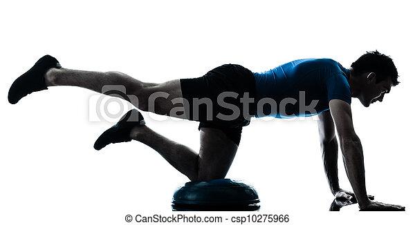 man exercising bosu workout fitness posture - csp10275966
