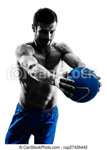man exercising fitness weights exercises silhouette - csp27426442