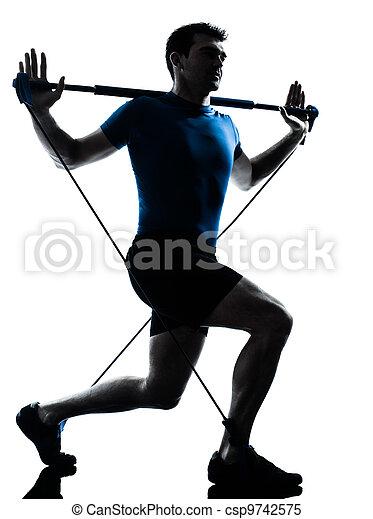 man exercising gymstick workout fitness posture - csp9742575