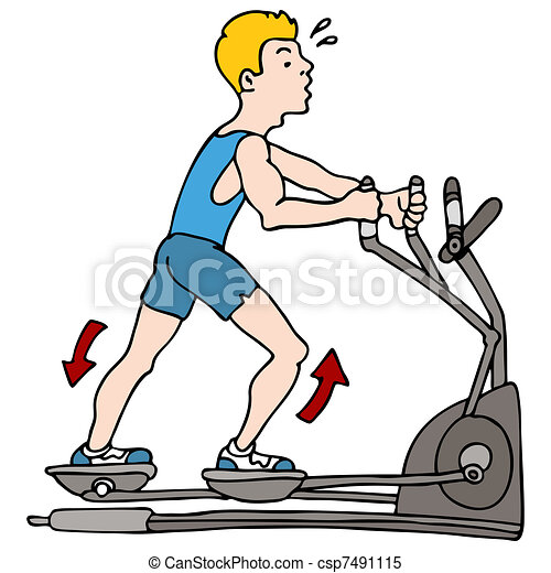 Man Exercising on Elliptical Machine - csp7491115