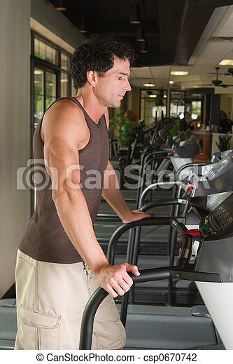 Man Exercising On Treadmill 1 - csp0670742